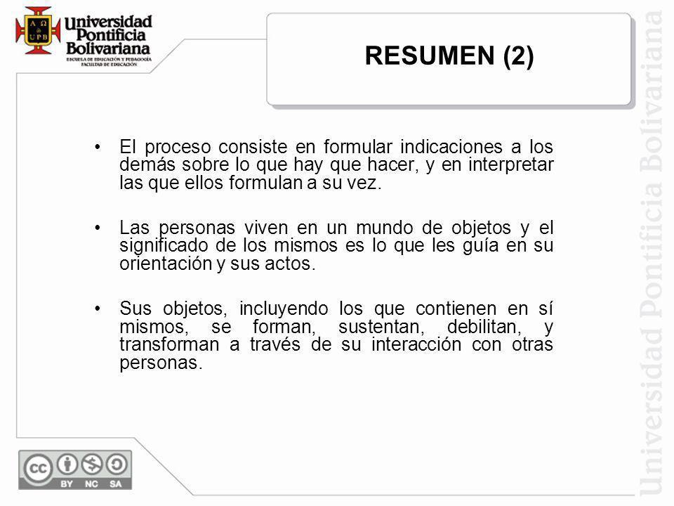 RESUMEN (2) El proceso consiste en formular indicaciones a los demás sobre lo que hay que hacer, y en interpretar las que ellos formulan a su vez.