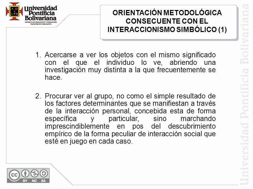 ORIENTACIÓN METODOLÓGICA CONSECUENTE CON EL INTERACCIONISMO SIMBÓLICO (1)