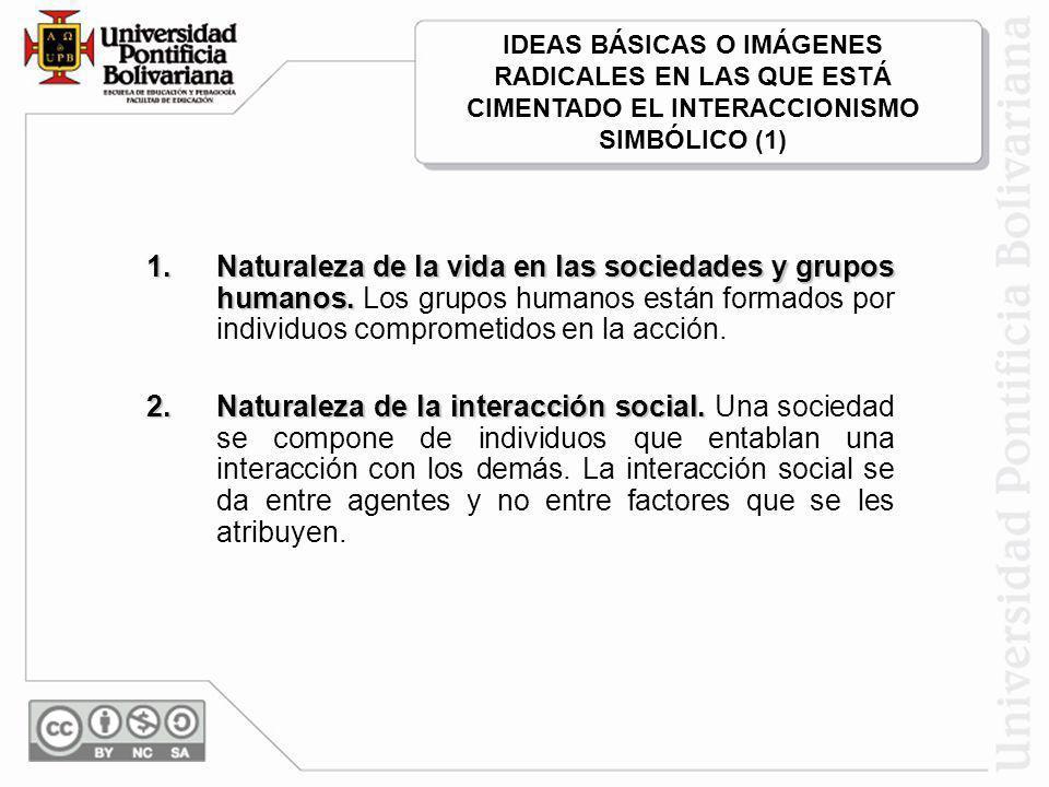 IDEAS BÁSICAS O IMÁGENES RADICALES EN LAS QUE ESTÁ CIMENTADO EL INTERACCIONISMO SIMBÓLICO (1)