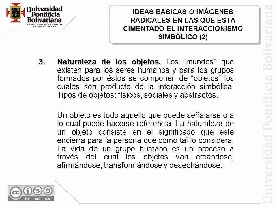 IDEAS BÁSICAS O IMÁGENES RADICALES EN LAS QUE ESTÁ CIMENTADO EL INTERACCIONISMO SIMBÓLICO (2)