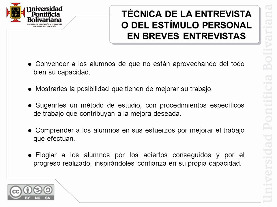 TÉCNICA DE LA ENTREVISTA O DEL ESTÍMULO PERSONAL EN BREVES ENTREVISTAS