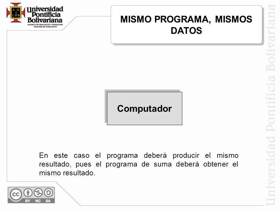 MISMO PROGRAMA, MISMOS DATOS