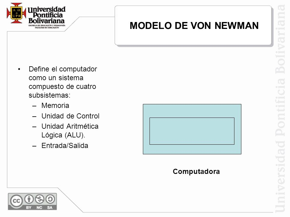 MODELO DE VON NEWMAN U. Control Entrada Memoria Salida ALU