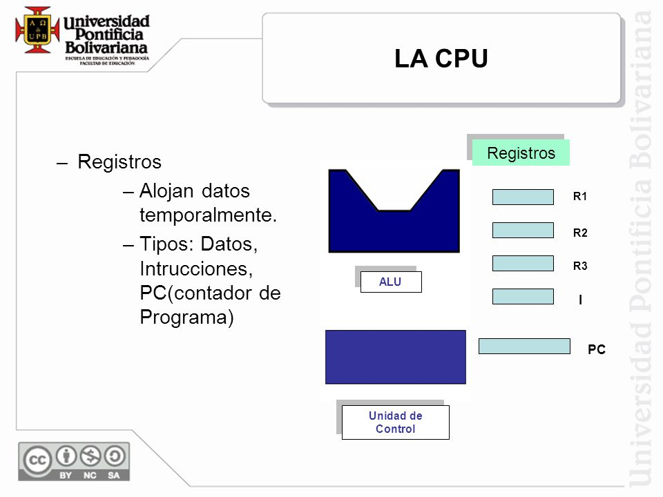 LA CPU Registros Alojan datos temporalmente.