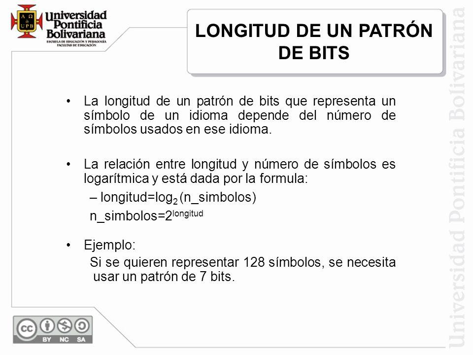 LONGITUD DE UN PATRÓN DE BITS