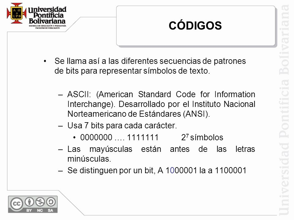 CÓDIGOS Se llama así a las diferentes secuencias de patrones de bits para representar símbolos de texto.