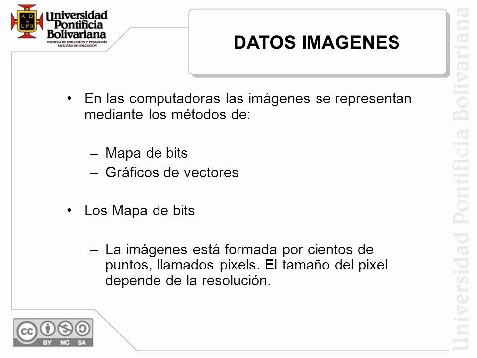 DATOS IMAGENES En las computadoras las imágenes se representan mediante los métodos de: Mapa de bits.