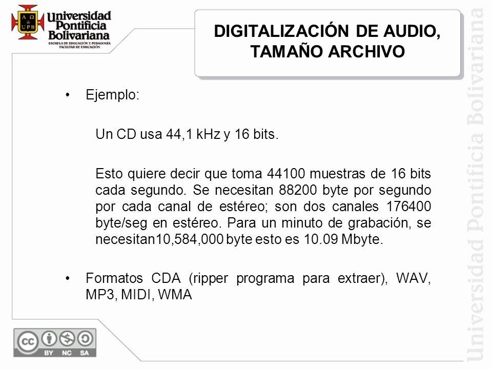 DIGITALIZACIÓN DE AUDIO, TAMAÑO ARCHIVO