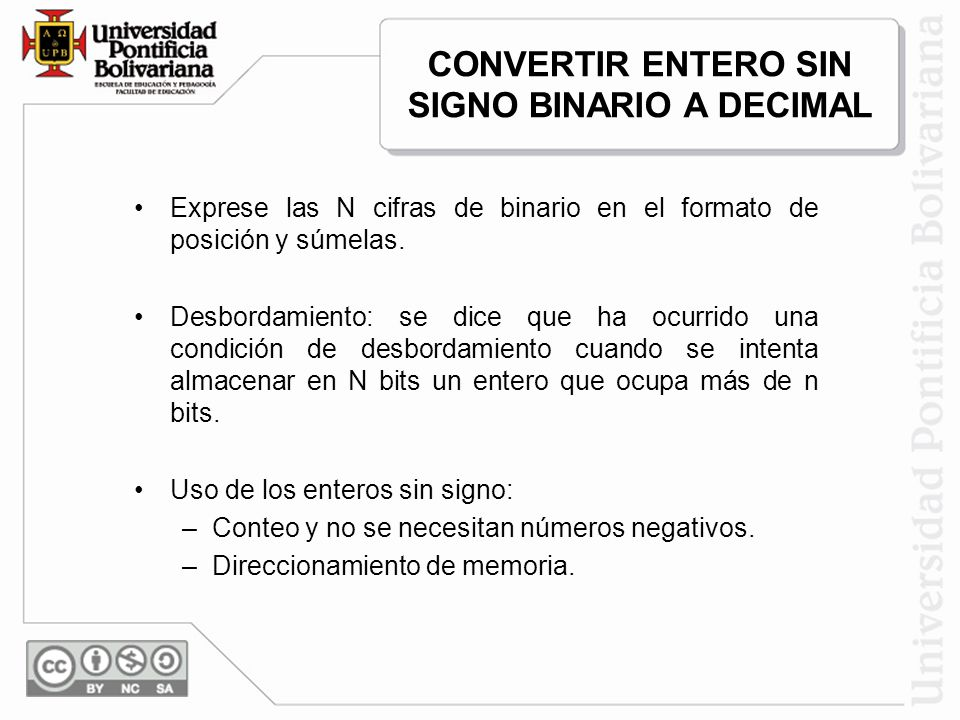 CONVERTIR ENTERO SIN SIGNO BINARIO A DECIMAL