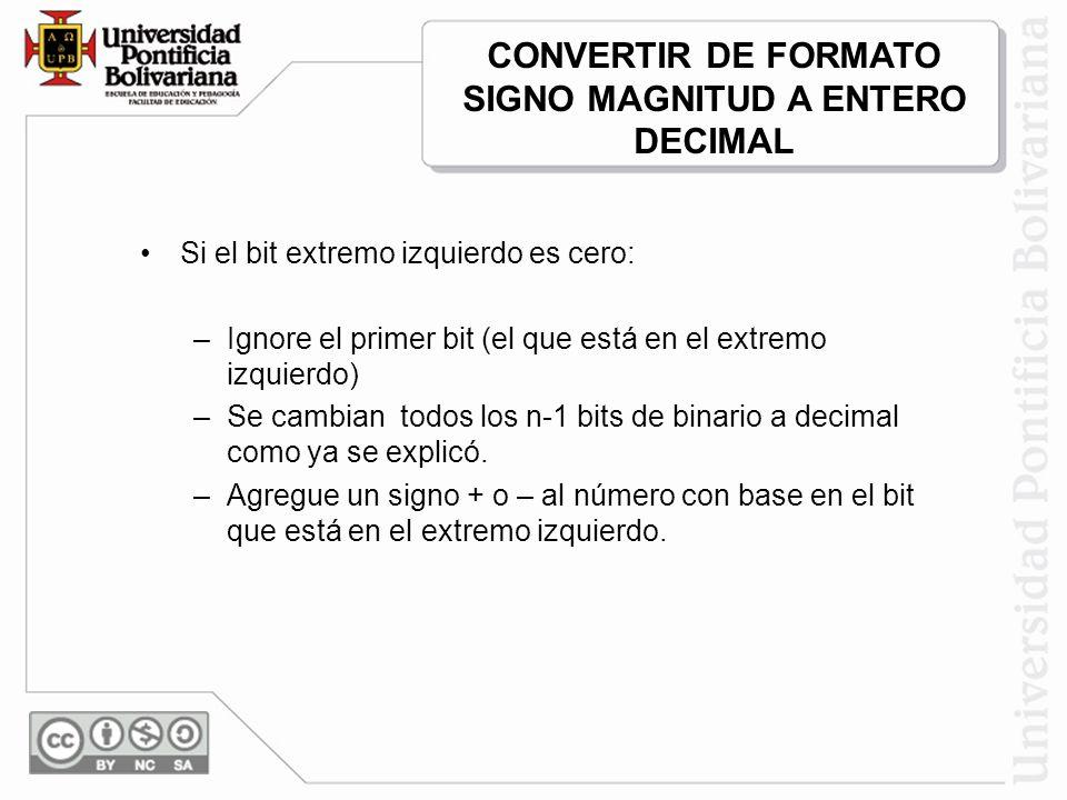CONVERTIR DE FORMATO SIGNO MAGNITUD A ENTERO DECIMAL