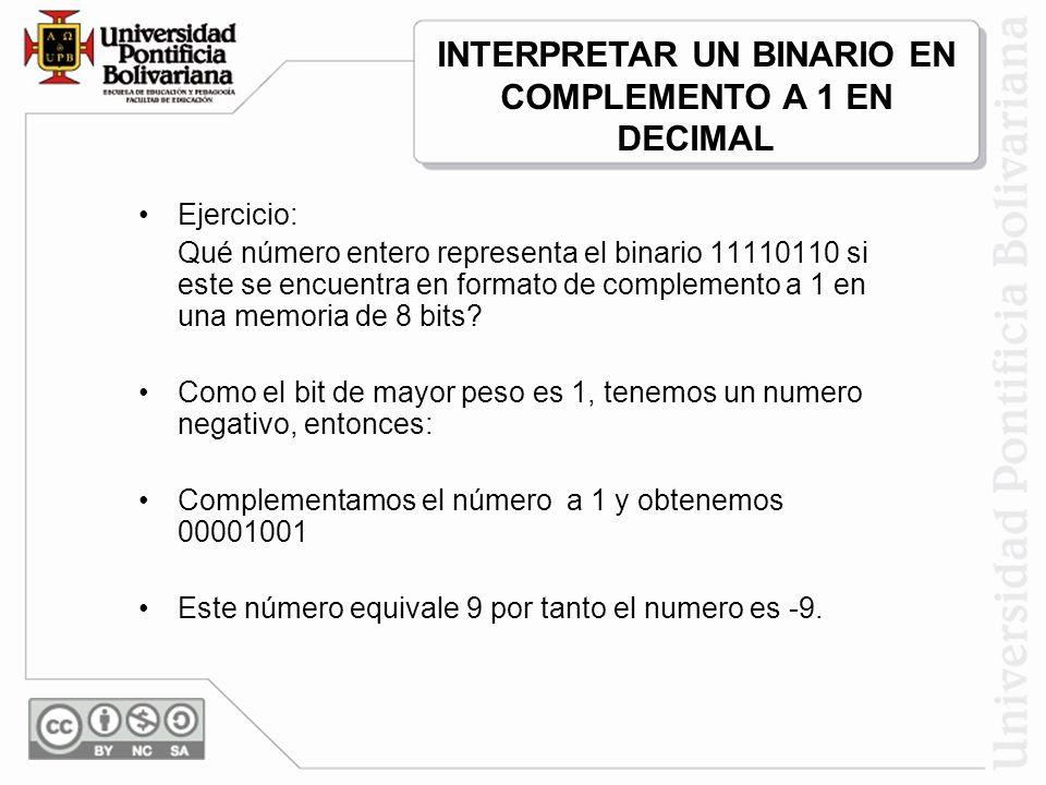 INTERPRETAR UN BINARIO EN COMPLEMENTO A 1 EN DECIMAL