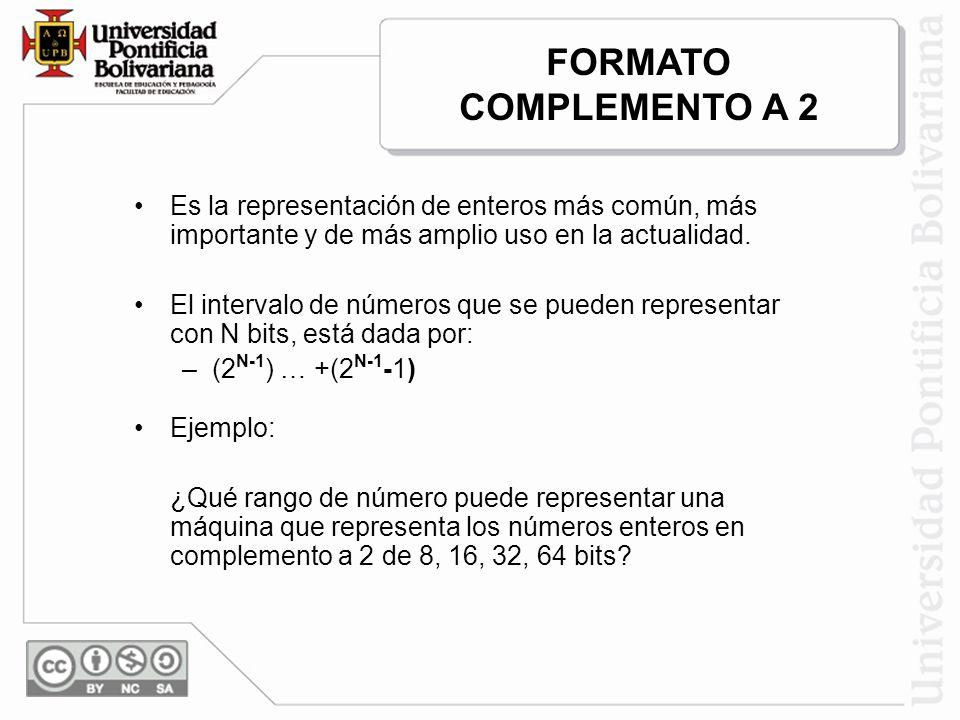 FORMATO COMPLEMENTO A 2 Es la representación de enteros más común, más importante y de más amplio uso en la actualidad.