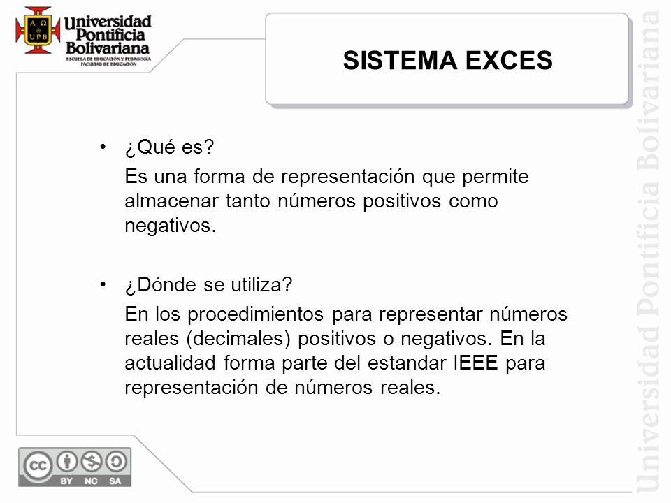 SISTEMA EXCES ¿Qué es Es una forma de representación que permite almacenar tanto números positivos como negativos.
