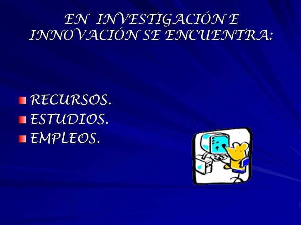 EN INVESTIGACIÓN E INNOVACIÓN SE ENCUENTRA: