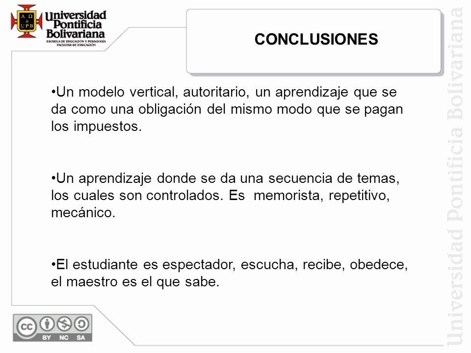 CONCLUSIONES Un modelo vertical, autoritario, un aprendizaje que se da como una obligación del mismo modo que se pagan los impuestos.
