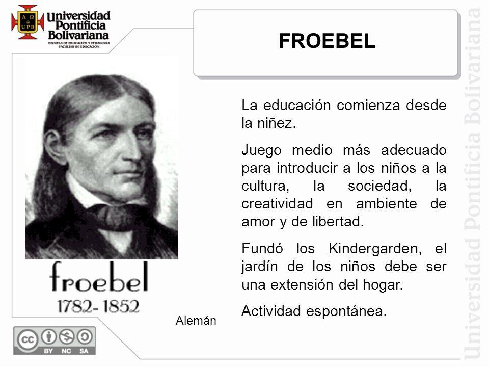 FROEBEL La educación comienza desde la niñez.