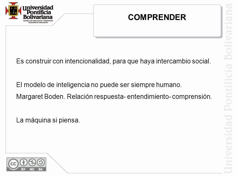 COMPRENDER Es construir con intencionalidad, para que haya intercambio social. El modelo de inteligencia no puede ser siempre humano.