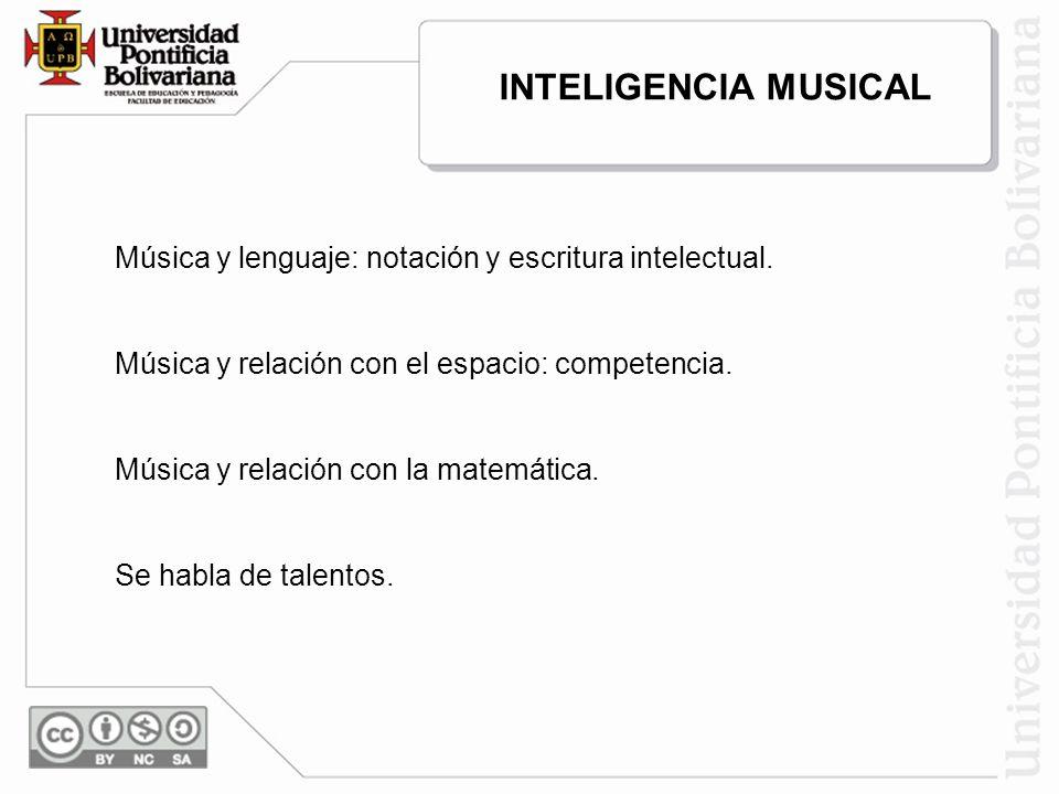 INTELIGENCIA MUSICAL Música y lenguaje: notación y escritura intelectual. Música y relación con el espacio: competencia.