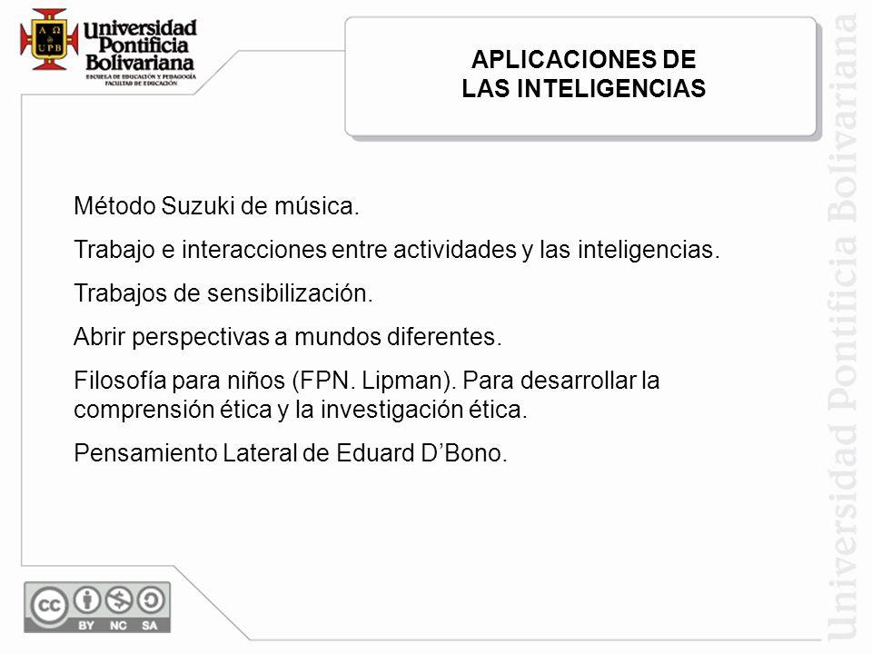 APLICACIONES DE LAS INTELIGENCIAS. Método Suzuki de música. Trabajo e interacciones entre actividades y las inteligencias.