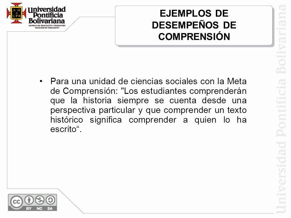 EJEMPLOS DE DESEMPEÑOS DE COMPRENSIÓN