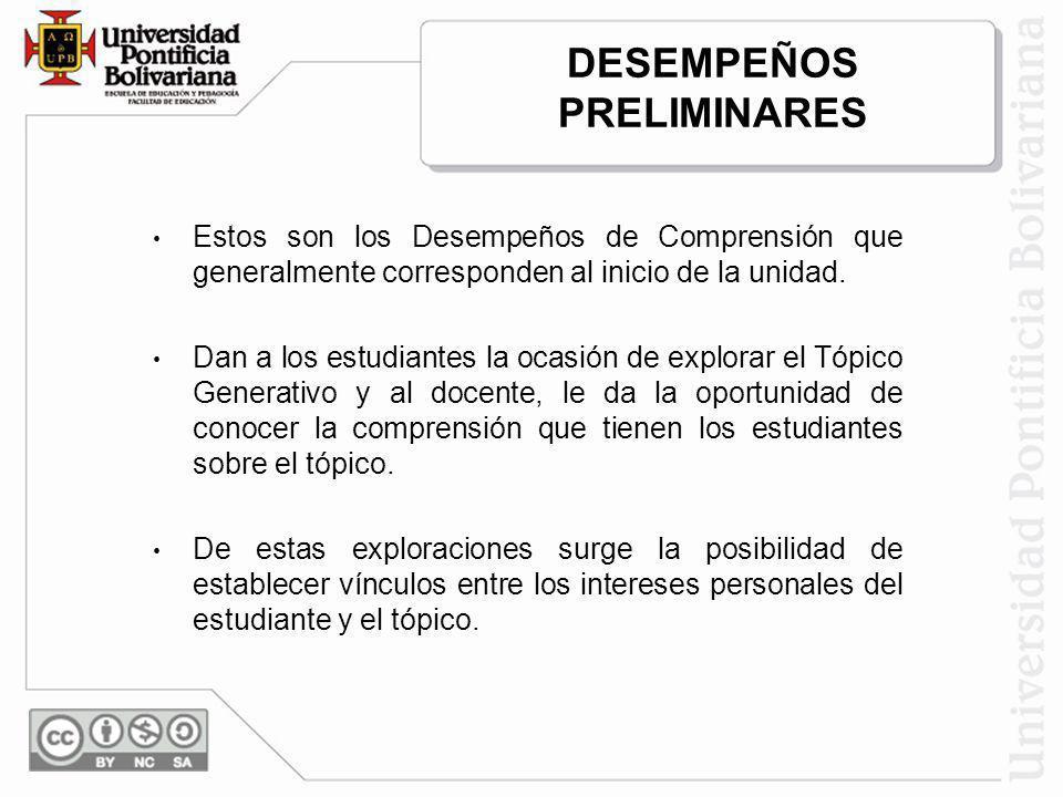 DESEMPEÑOS PRELIMINARES