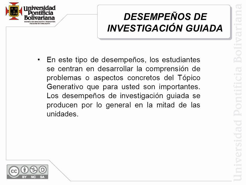 DESEMPEÑOS DE INVESTIGACIÓN GUIADA