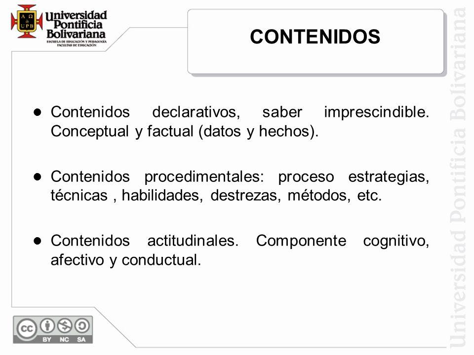 CONTENIDOS Contenidos declarativos, saber imprescindible. Conceptual y factual (datos y hechos).