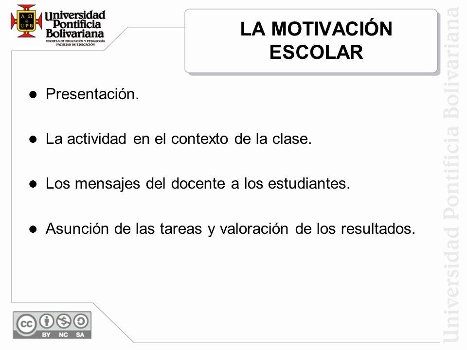 LA MOTIVACIÓN ESCOLAR Presentación.