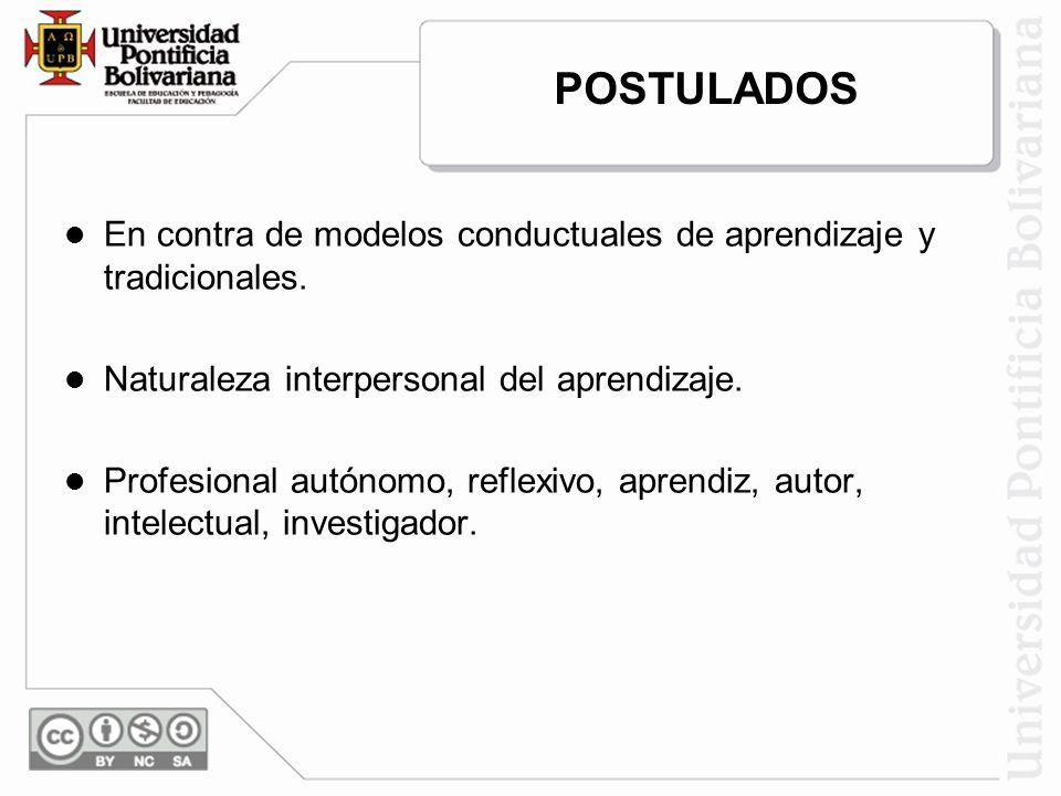 POSTULADOS En contra de modelos conductuales de aprendizaje y tradicionales. Naturaleza interpersonal del aprendizaje.