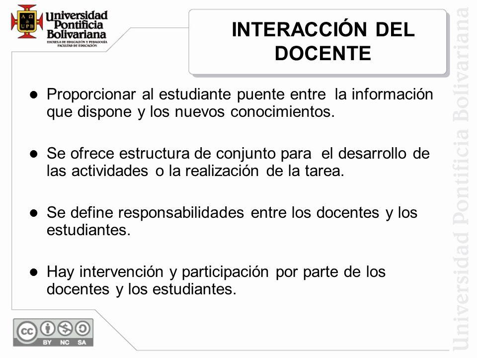 INTERACCIÓN DEL DOCENTE