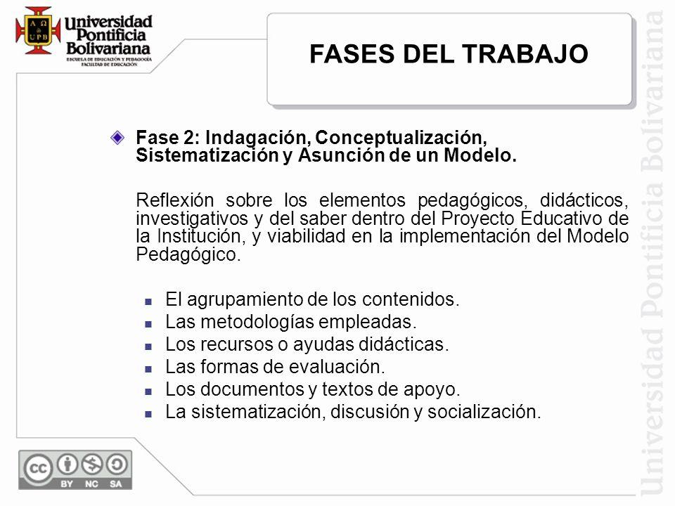 FASES DEL TRABAJO Fase 2: Indagación, Conceptualización, Sistematización y Asunción de un Modelo.
