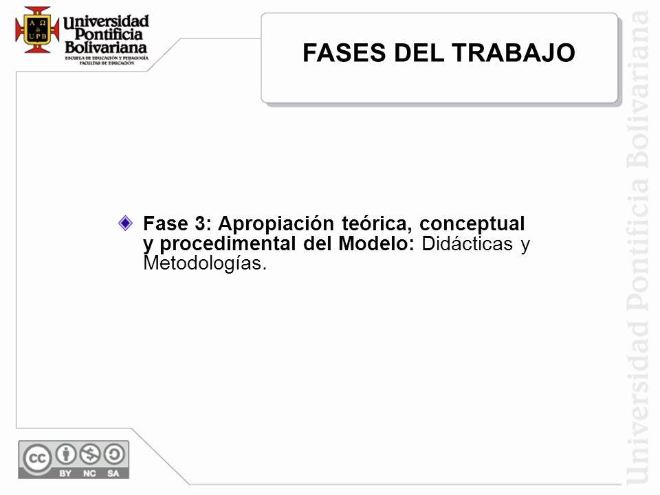 FASES DEL TRABAJO Fase 3: Apropiación teórica, conceptual y procedimental del Modelo: Didácticas y Metodologías.
