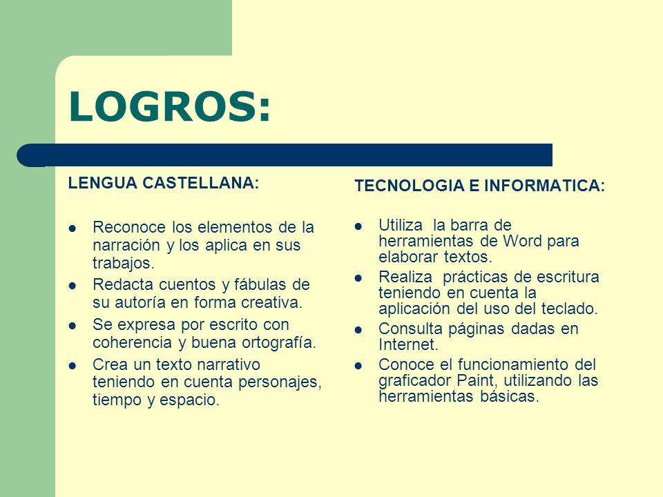 LOGROS: LENGUA CASTELLANA: TECNOLOGIA E INFORMATICA:
