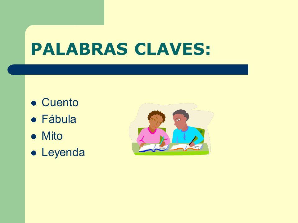 PALABRAS CLAVES: Cuento Fábula Mito Leyenda