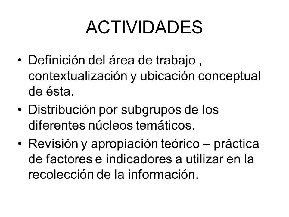 ACTIVIDADES Definición del área de trabajo , contextualización y ubicación conceptual de ésta.
