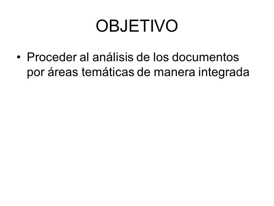 OBJETIVO Proceder al análisis de los documentos por áreas temáticas de manera integrada