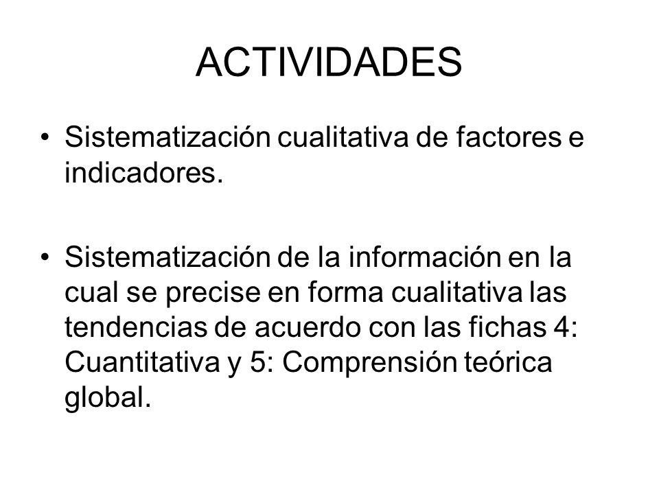 ACTIVIDADES Sistematización cualitativa de factores e indicadores.