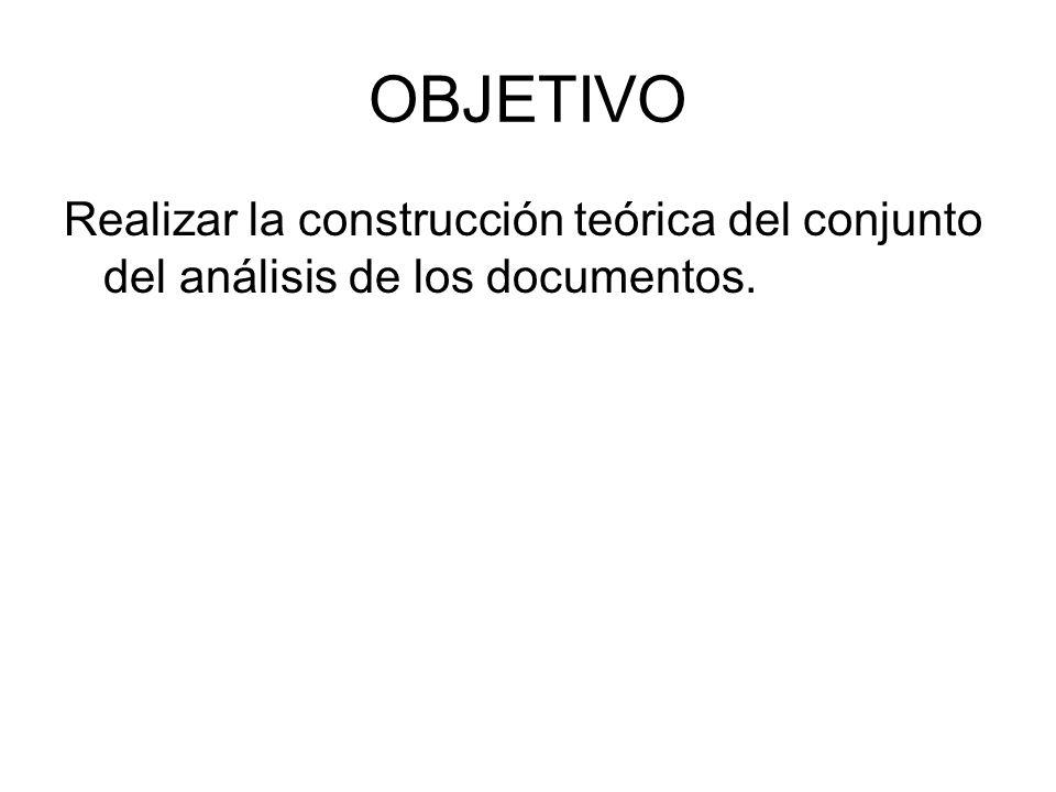 OBJETIVO Realizar la construcción teórica del conjunto del análisis de los documentos.