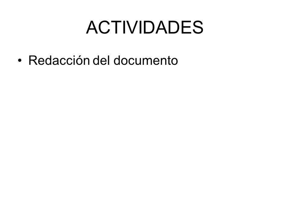 ACTIVIDADES Redacción del documento