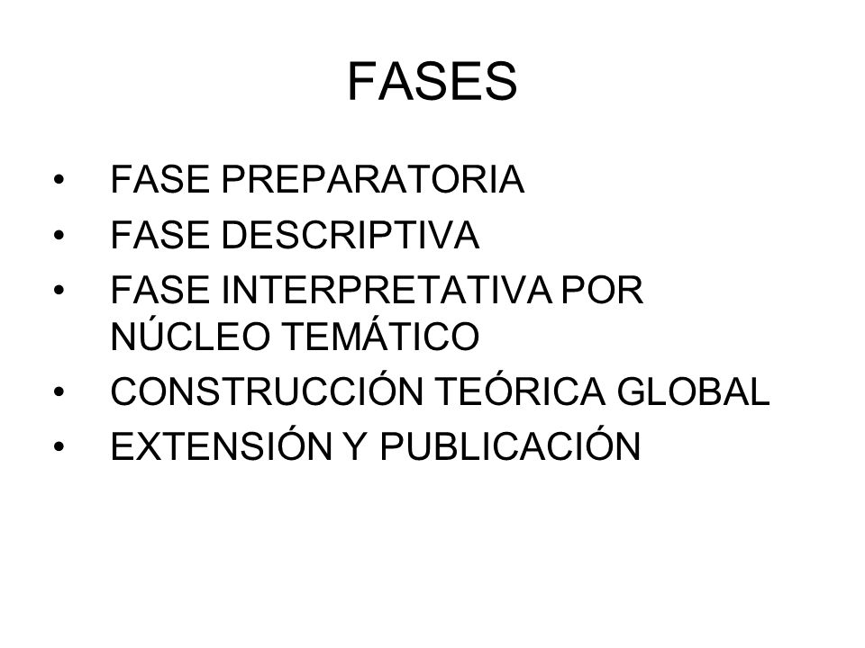 FASES FASE PREPARATORIA FASE DESCRIPTIVA