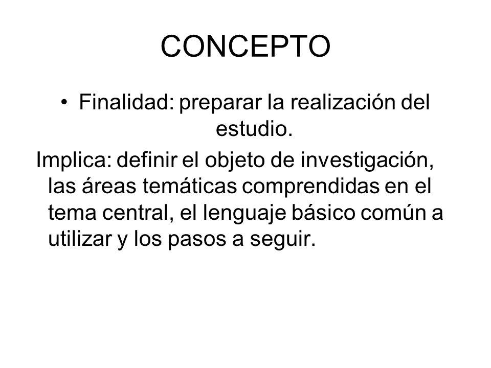 Finalidad: preparar la realización del estudio.
