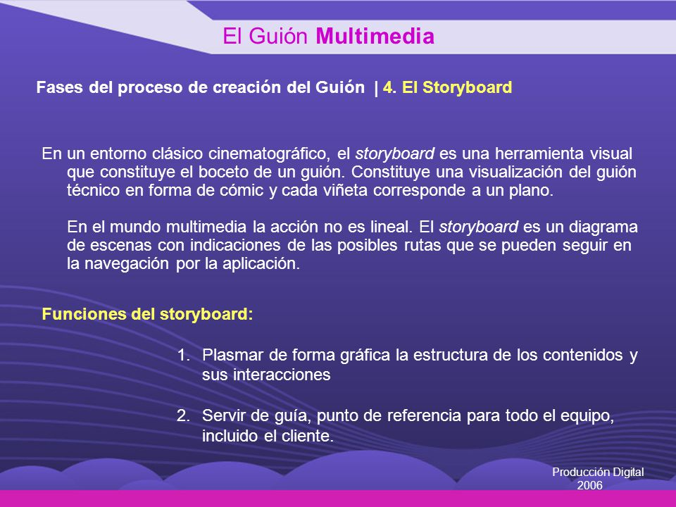 El Guión Multimedia Fases del proceso de creación del Guión | 4. El Storyboard.