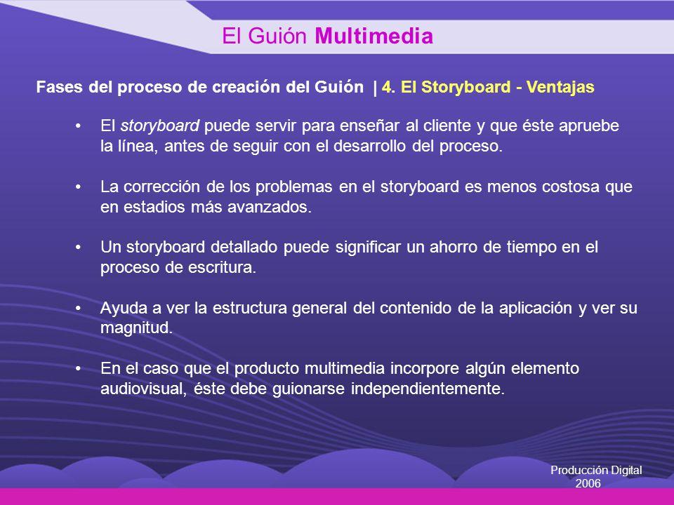 El Guión Multimedia Fases del proceso de creación del Guión | 4. El Storyboard - Ventajas.
