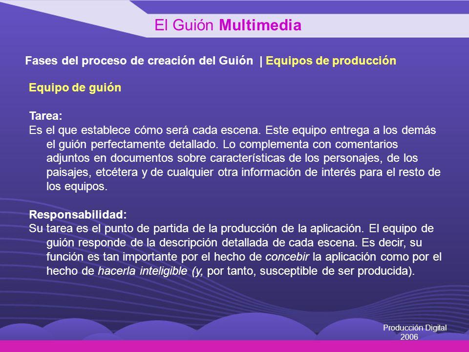 El Guión Multimedia Fases del proceso de creación del Guión | Equipos de producción. Equipo de guión.