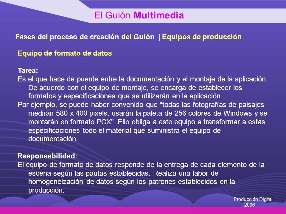 El Guión Multimedia Fases del proceso de creación del Guión | Equipos de producción. Equipo de formato de datos.