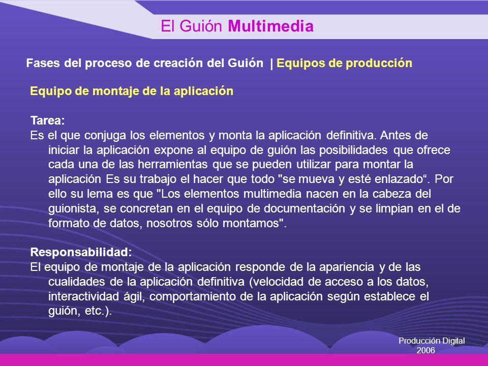 El Guión Multimedia Fases del proceso de creación del Guión | Equipos de producción. Equipo de montaje de la aplicación.
