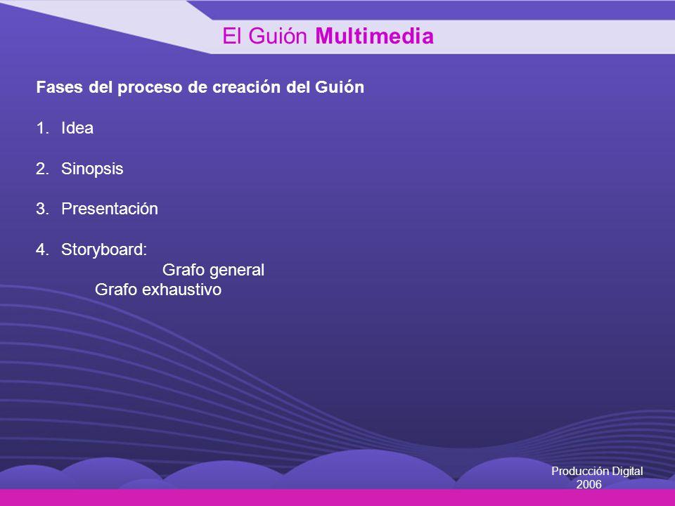 El Guión Multimedia Fases del proceso de creación del Guión Idea