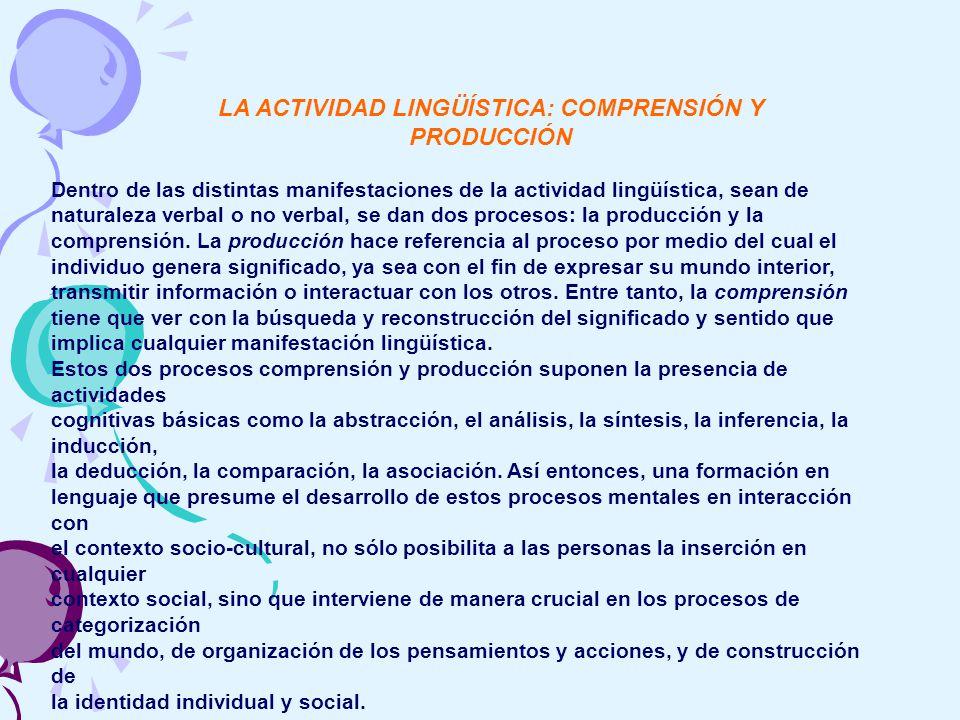 LA ACTIVIDAD LINGÜÍSTICA: COMPRENSIÓN Y PRODUCCIÓN