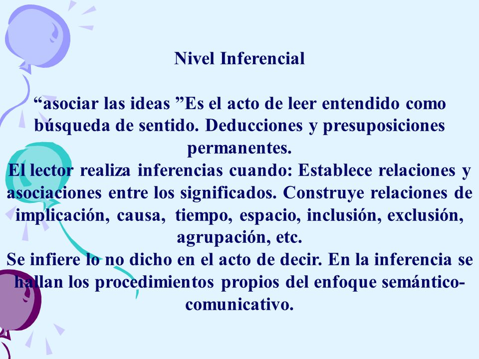 Nivel Inferencial asociar las ideas Es el acto de leer entendido como búsqueda de sentido. Deducciones y presuposiciones permanentes.