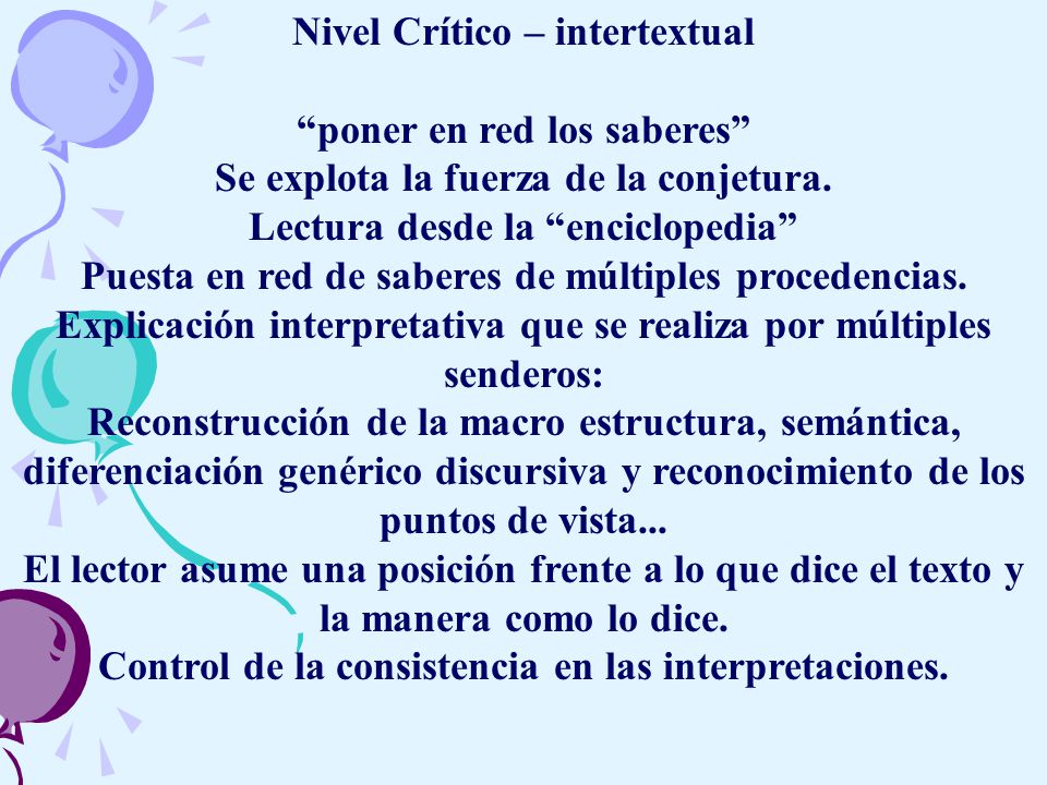 Nivel Crítico – intertextual poner en red los saberes
